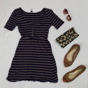Navy blue and brown casual dress